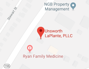 map with a pin on unsworth La plannte location